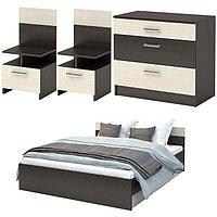 Спальня Уют, набор -  комод 800, кровать 1600, тумбы 2 шт , Венге/Дуб белфорд