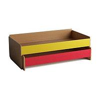 Кровать детская 2-ярусная выкатная с основанием, 1438х636х545, Цветной фасад