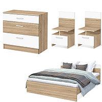 Спальня Уют, набор -  комод 800, кровать 1600, тумбы 2 шт , Дуб сонома/Белый