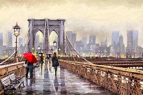"""Картины стразами на подрамнике """"Свидание на Бруклинском мосту"""" 30х40 см  СТРАЗЫ КРУГЛЫЕ"""