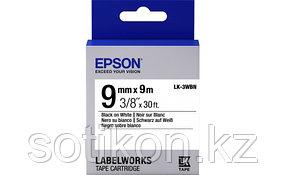 Лента Epson C53S653003 LK3WBN Стандартная лента 9мм, Бел./Черн., 9м