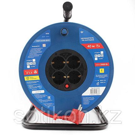 Силовой удлинитель на катушке Power Cube PC-BG4-K-40, 16 А/3,5 кВт,40 м, 4 розетки с/з, красно-синий, фото 2