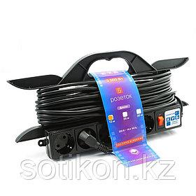 Силовой удлинитель на рамке Power Cube PC-LG5-R-10, 16 А/3,5 кВт, 10 м, 5 розеток с/з, чёрный