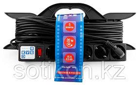 Силовой удлинитель на рамке Power Cube PC-LG5-R-20, 16 А/3,5 кВт, 20 м, 5 розеток с/з, чёрный