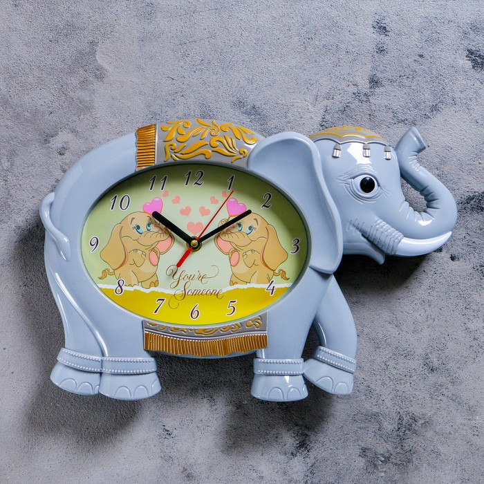 """Часы настенные, серия: Детские,  """"Серый слоник"""", 36х24 см"""