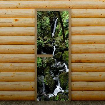 """Дверь для бани и сауны """"Горный водопад"""", 190 х 70 см, с фотопечатью 6 мм Добропаровъ"""