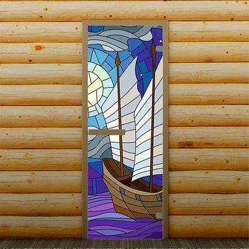 """Дверь для бани и сауны """"Корабль"""", 190 х 70 см, с фотопечатью 6 мм Добропаровъ"""