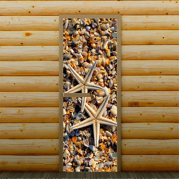 """Дверь для бани и сауны """"Ракушки"""", 190 х 70 см, с фотопечатью 6 мм Добропаровъ"""