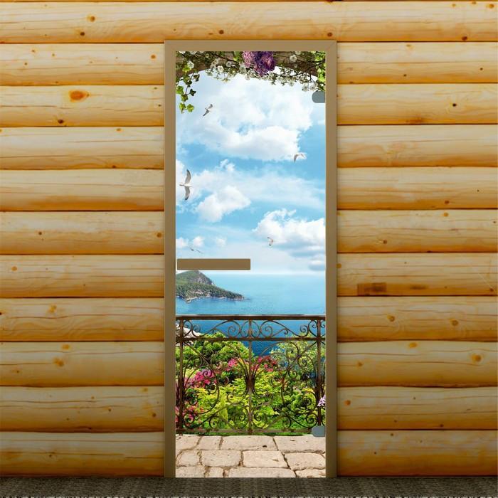 """Дверь для бани и сауны """"Морской пейзаж"""", 190 х 70 см, с фотопечатью 6 мм Добропаровъ"""