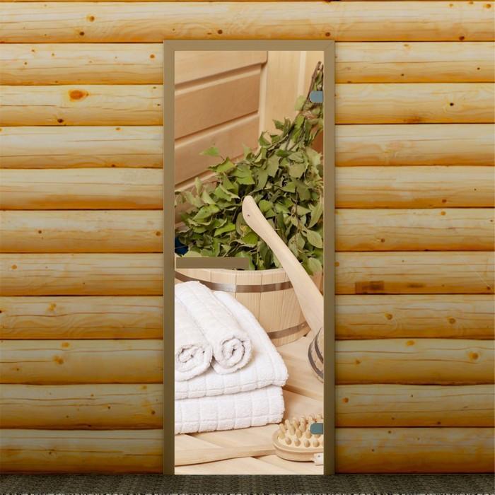 """Дверь для бани и сауны """"Банные аксессуары"""", 190 х 70 см, с фотопечатью 6 мм Добропаровъ"""