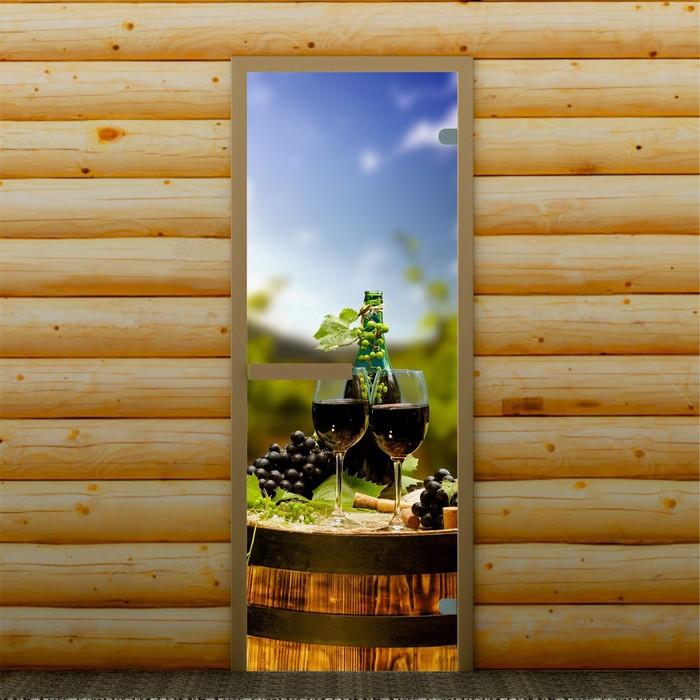 """Дверь левое открывание """"Бокалы с вином"""" 190 х 70 см, с фотопечатью 6 мм Добропаровъ"""