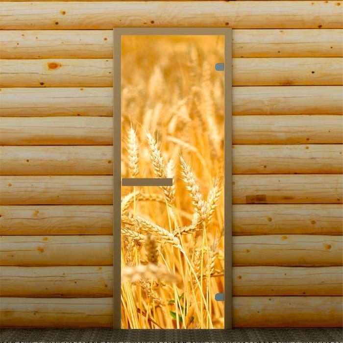 """Дверь левое открывание """"Пшеница"""", 190 х 70 см, с фотопечатью 6 мм Добропаровъ"""