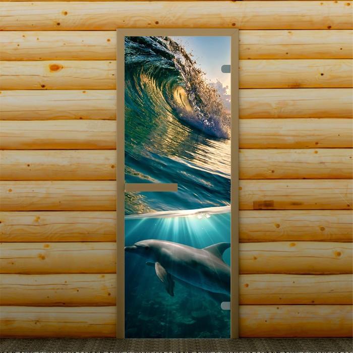 """Дверь левое открывание """"Дельфин"""", 190 х 70 см, с фотопечатью 6 мм Добропаровъ"""