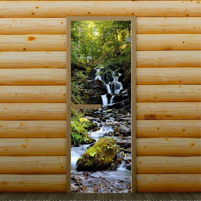 """Дверь для бани и сауны """"Водопад"""", 190 х 70 см, с фотопечатью 6 мм Добропаровъ"""