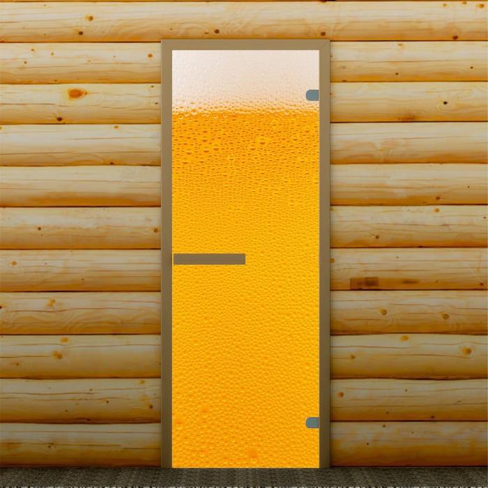 """Дверь для бани и сауны """"Пенное"""", 190 х 70 см, с фотопечатью 6 мм Добропаровъ"""
