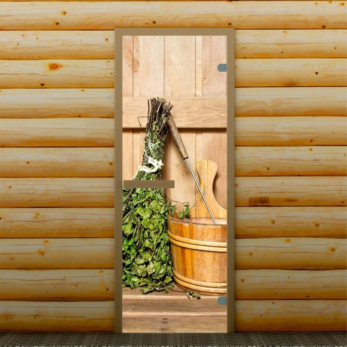 """Дверь для бани и сауны стеклянная """"Веник в бане"""", 190×70см, 6мм, с фотопечатью"""