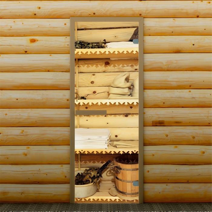 """Дверь левое открывание """"Банные принадлежности"""", 190 х70 см, с фотопечатью 6 мм Добропаровъ"""
