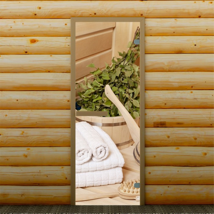 """Дверь левое открывание """"Банные аксессуары"""", 190 х 70 см, с фотопечатью 6 мм Добропаровъ"""
