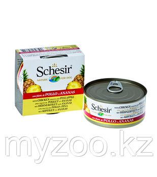 Schesir консервы для собак ЦЫПЛЁНОК+АНАНАС 150гр