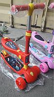 Самокат с сидением 2 в 1 DUO широкие колеса человек паук красный, фото 1