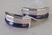 Серебряные серьги с керамикой синего цвета. Вставка: белые фианиты, вес: 6 гр, покрытие родий