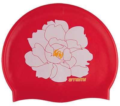 Шапочка для плавания Atemi, силикон, красная (цветок), PSC409