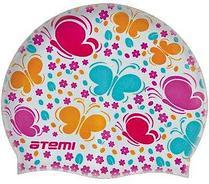 Шапочка для плавания Atemi, силикон, белая (бабочки), PSC410