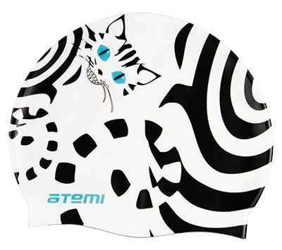 Шапочка для плавания Atemi, силикон, белая (кот), PSC412