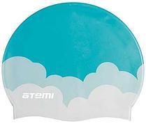 Шапочка для плавания Atemi, силикон, голубая (облака), PSC413