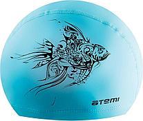 Шапочка для плавания тканевая с ПУ покрытием, гол.,принт, PU 302