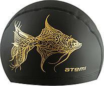 Шапочка для плавания тканевая с ПУ покрытием, чёрн.,принт, PU 302