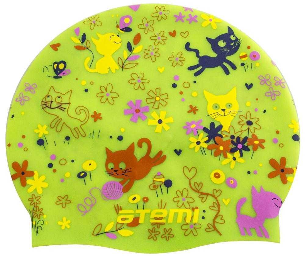 Шапочка для плавания Atemi, силикон, салатовая (котята), дет., PSC307