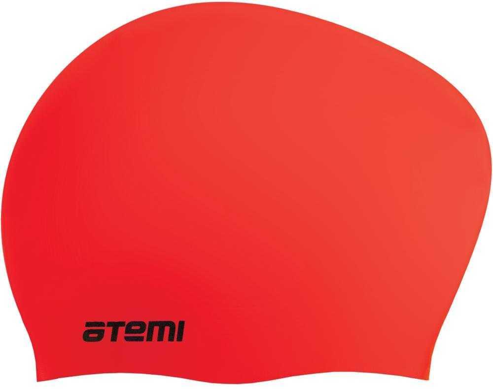 Шапочка для плавания ATEMI, силикон, д/длин.волос, красн, LC-03