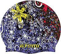 Шапочка для плавания Atemi, силикон, чёрн.(принт), дет., PSC306