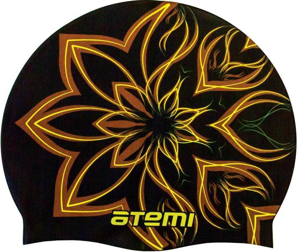 Шапочка для плавания Atemi, силикон, чёрн. (огн.цветок), PSC418