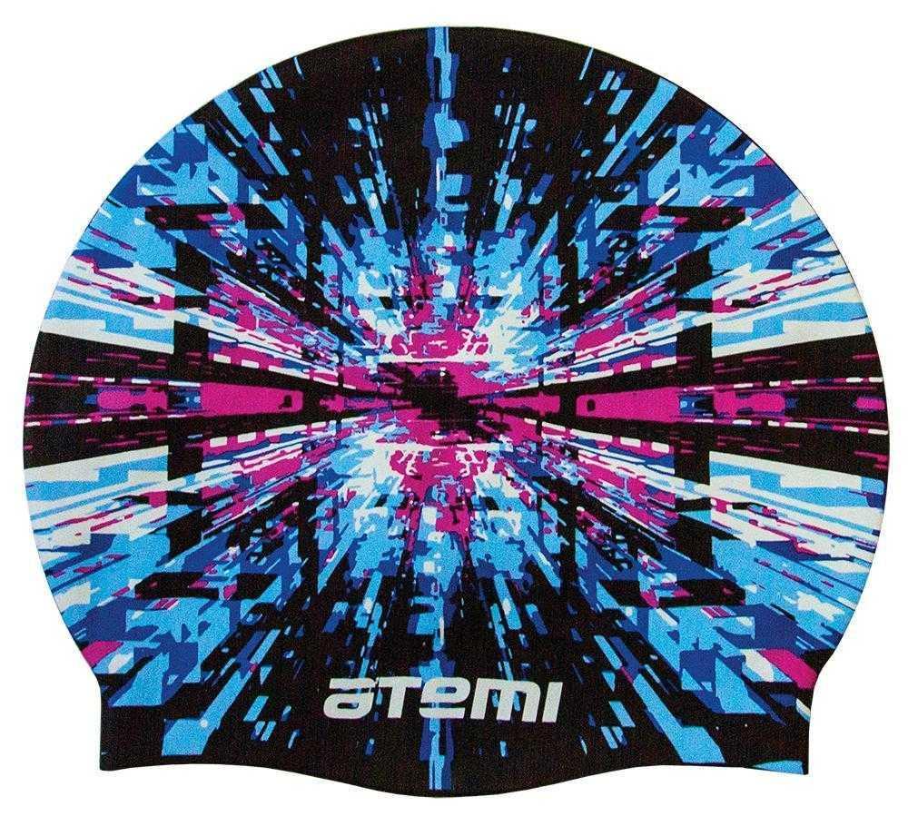 Шапочка для плавания Atemi, силикон, чёрная (графика), PSC423