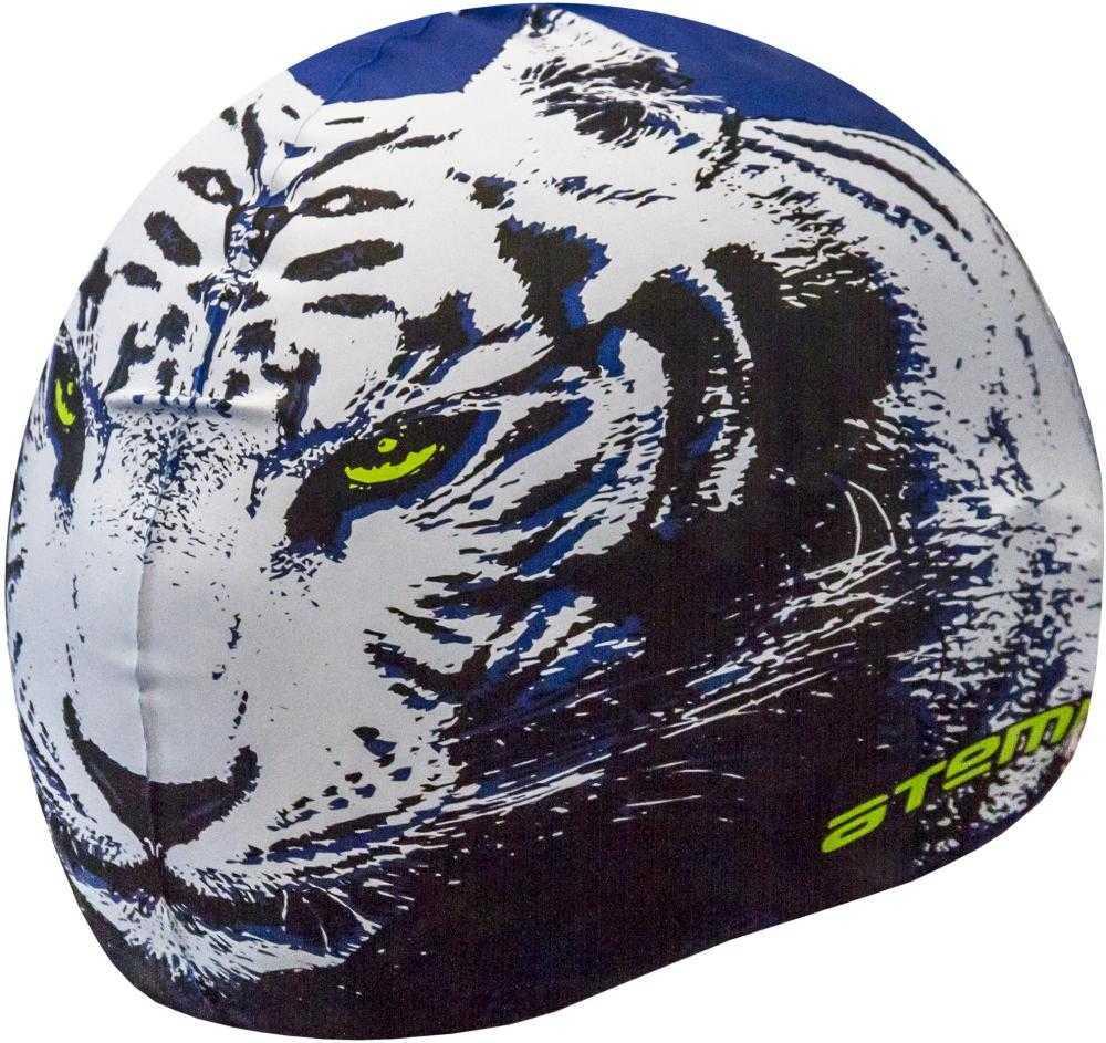 Шапочка для плавания Atemi, силикон, син (тигр), PSC425