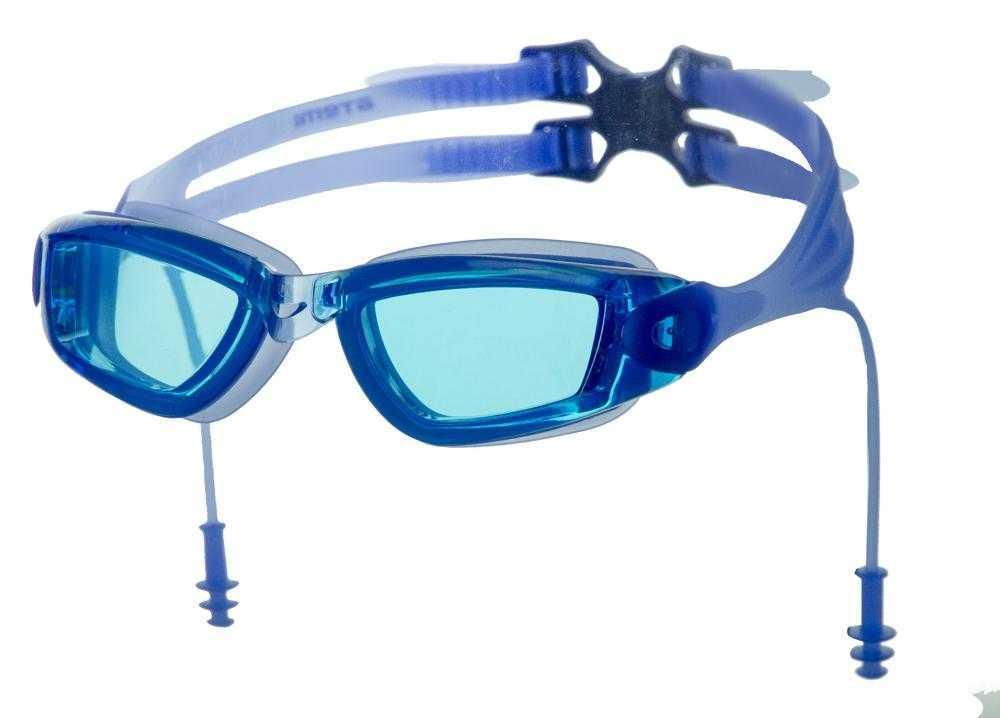 Очки для плавания Atemi, силикон, с берушами (син), N9701