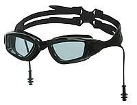 Очки для плавания Atemi, силикон, с берушами (чёрн/сер), N9700