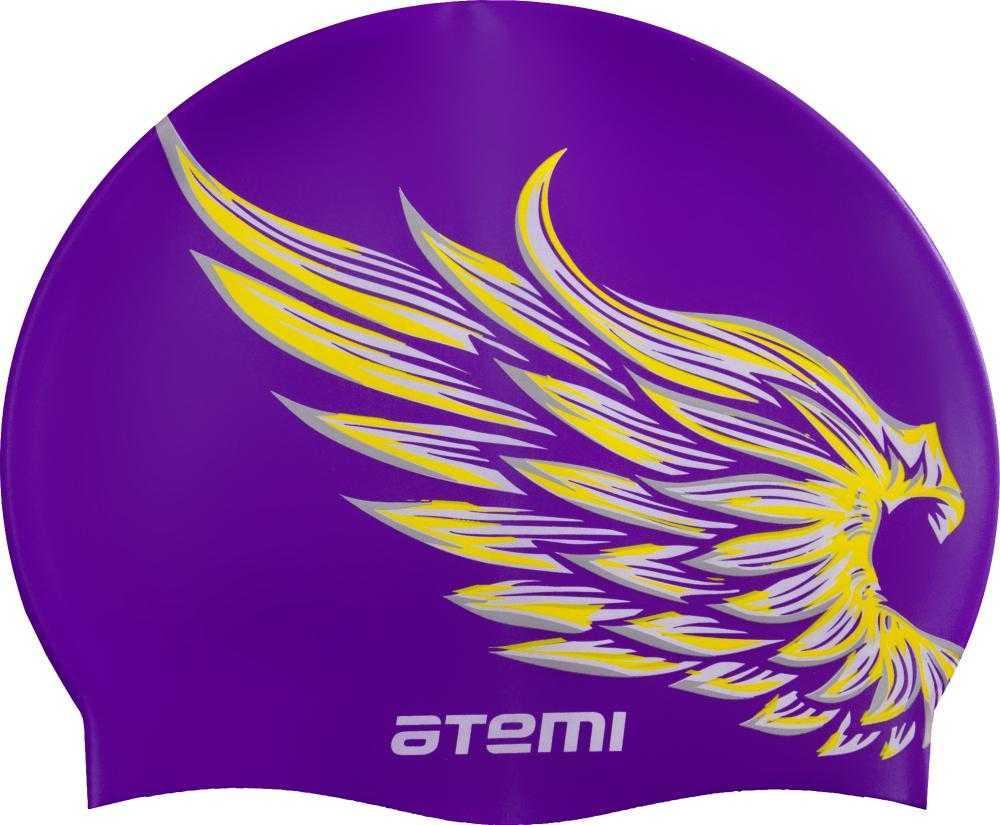 Шапочка для плавания Atemi, силикон, лиловая (крылья), дет., PSC308