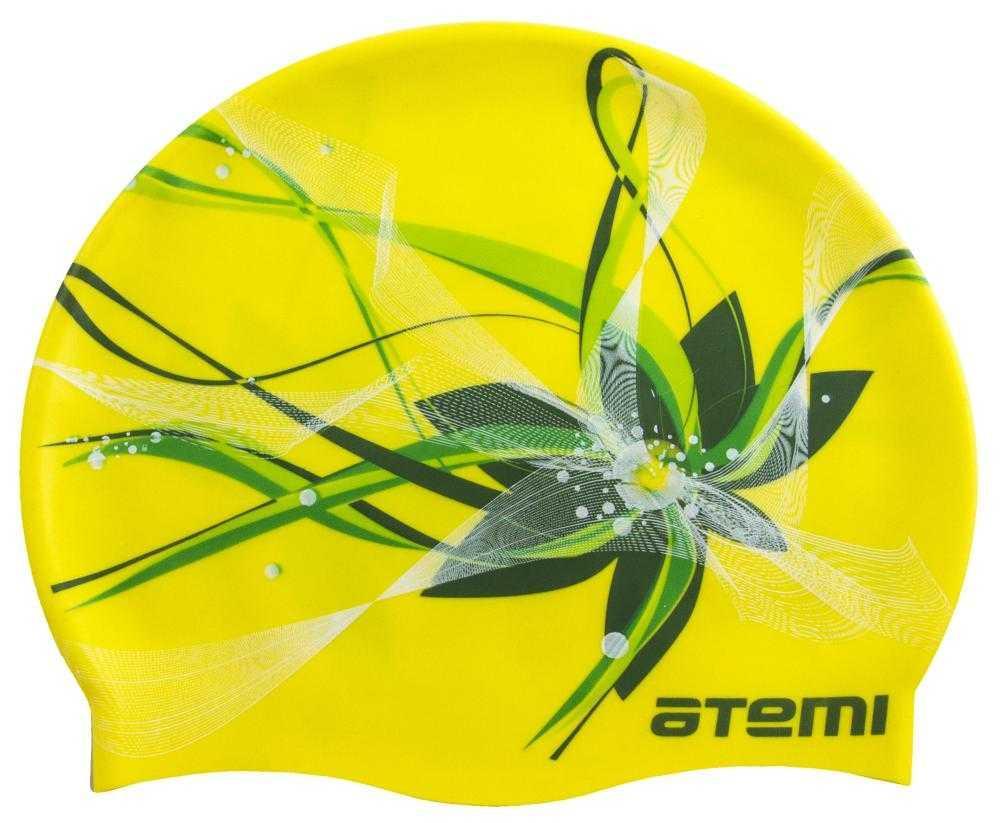 Шапочка для плавания Atemi, силикон, жёлтая (цветок), PSC414
