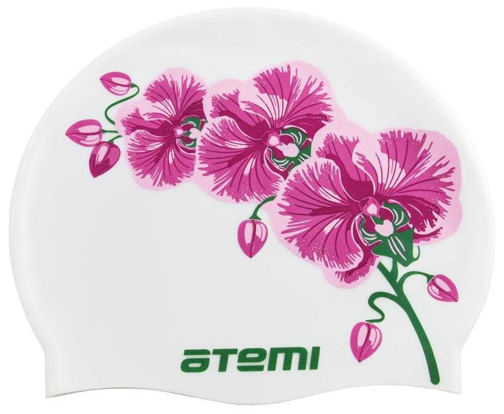 Шапочка для плавания Atemi, силикон, белая (цветок), PSC415