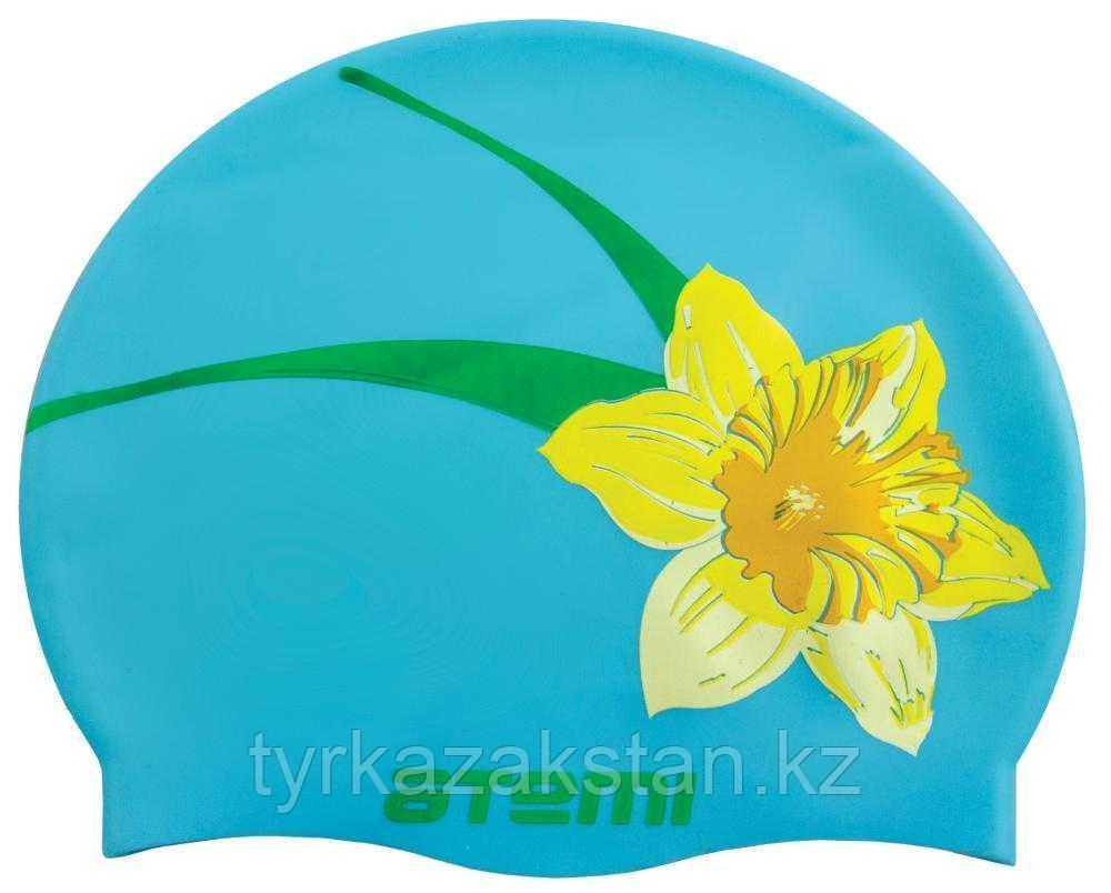 Шапочка для плавания Atemi, силикон, голубая (цветок), PSC415