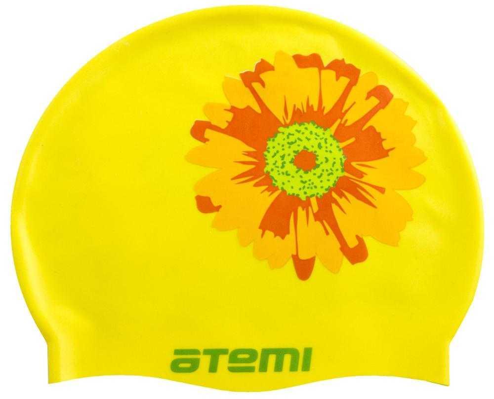 Шапочка для плавания Atemi, силикон, жёлтая (цветок), PSC415