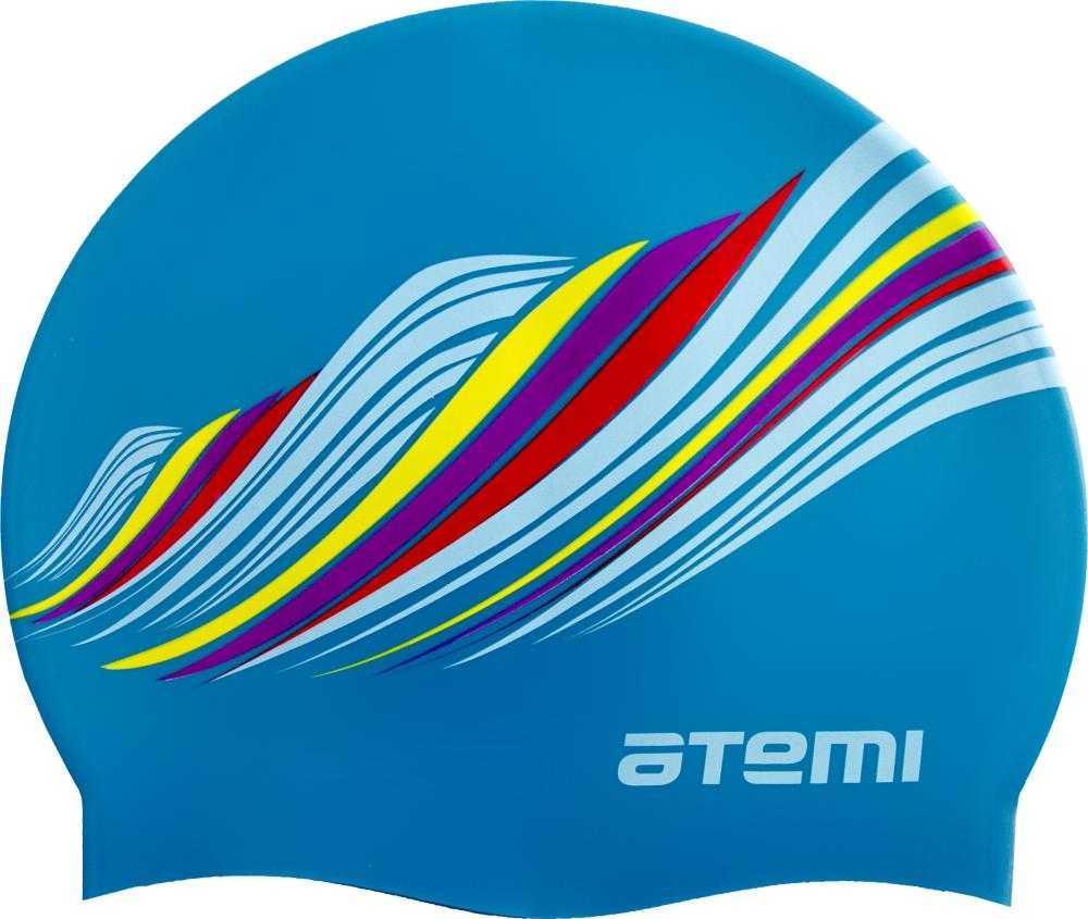 Шапочка для плавания Atemi, силикон, голубая (узор), PSC417