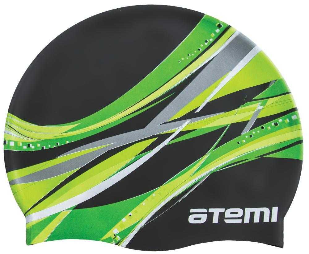 Шапочка для плавания Atemi, силикон, чёрная (графика), PSC419