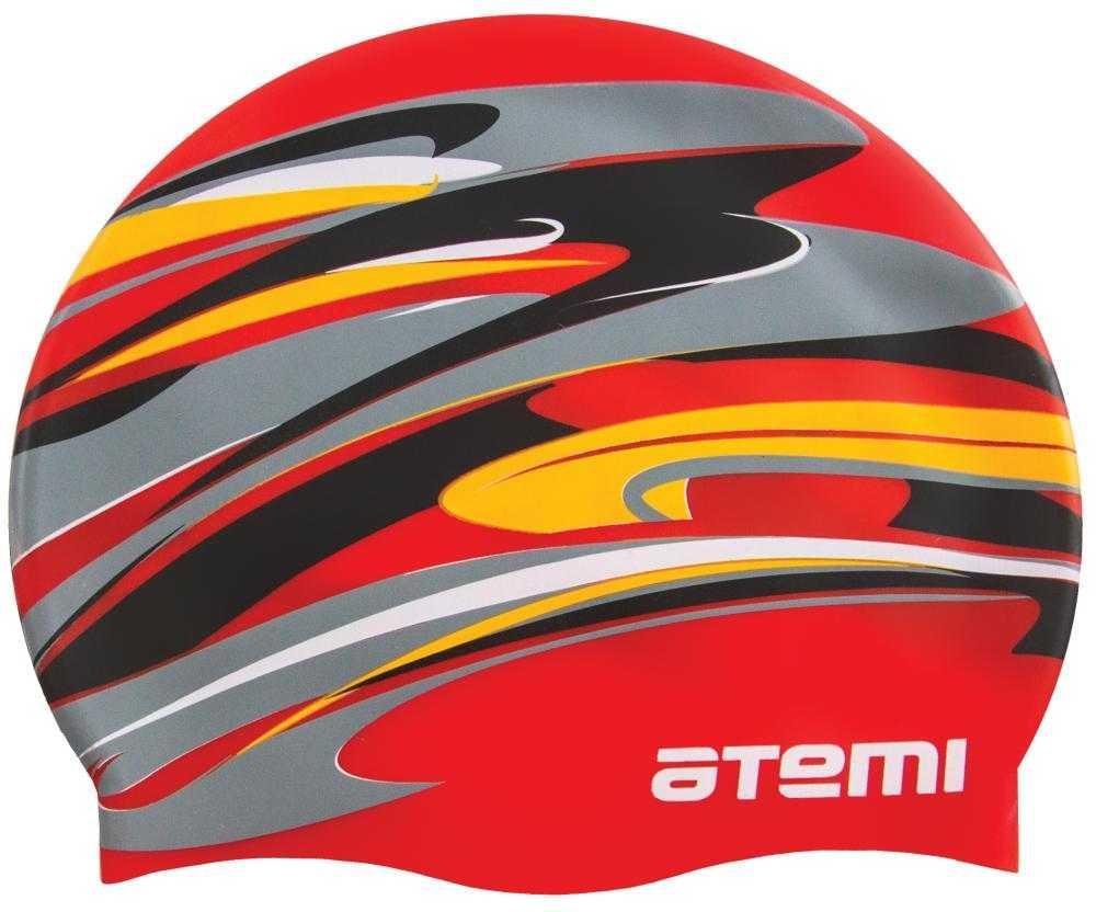 Шапочка для плавания Atemi, силикон, красная (графика), PSC420