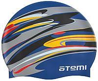 Шапочка для плавания Atemi, силикон, т.синяя (графика), PSC420