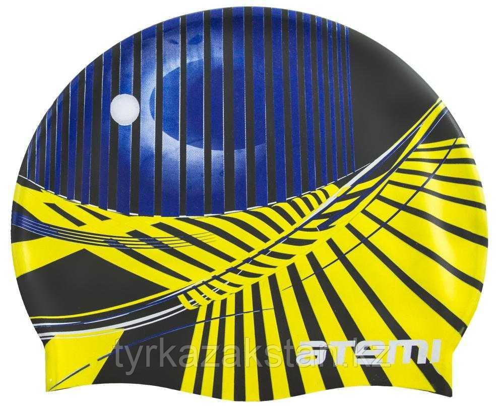 Шапочка для плавания Atemi, силикон, чёрная (графика), PSC422