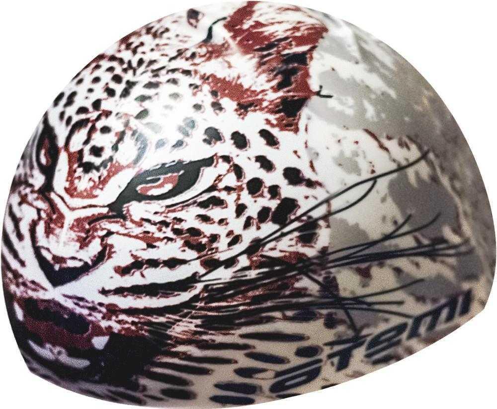 Шапочка для плавания Atemi, силикон, белая (леопард), PSC425